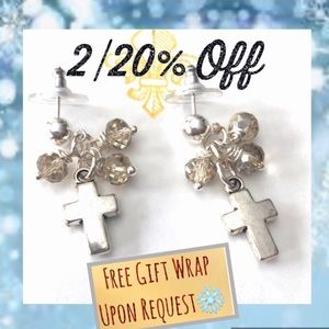 Sterling Silver Cross Earrings Posts Silver  Beads